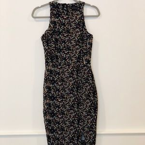 Banana Republic midi black floral dress